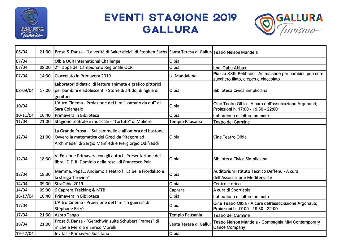 Eventi in Gallura 2019 ì