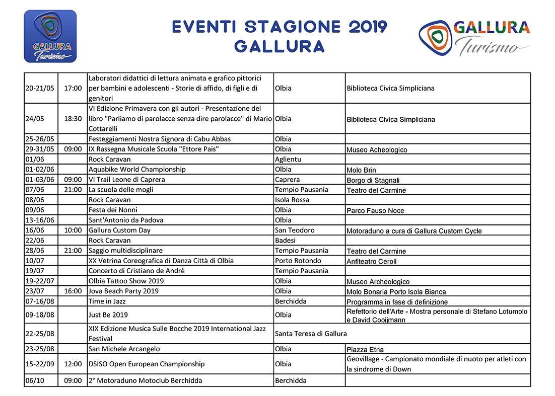Eventi in Gallura 2019
